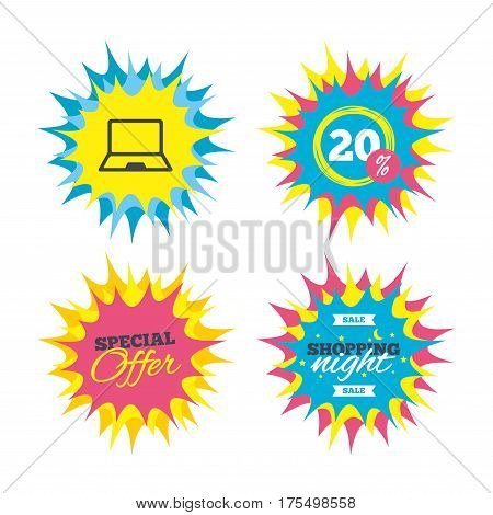 Shopping offers, special offer banners. Laptop sign icon. Notebook pc symbol. Discount star label. Vector