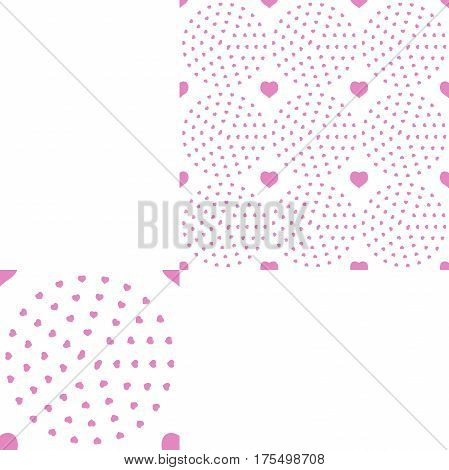 Seamless patterns from pink hearts on the white background with pattern unit.