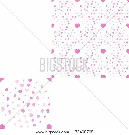 Seamless patterns from pink hearts of different size and opacity on the white background with pattern unit.