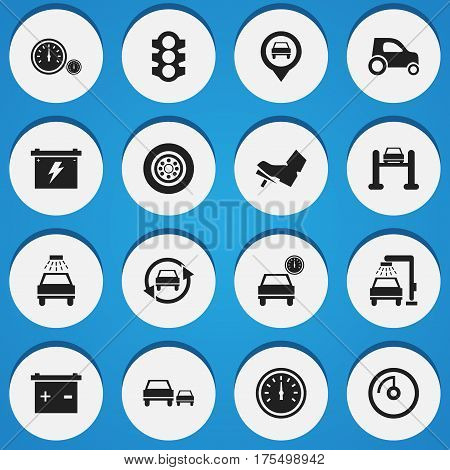 Set Of 16 Editable Vehicle Icons. Includes Symbols Such As Tuning Auto, Battery, Car Lave And More. Can Be Used For Web, Mobile, UI And Infographic Design.