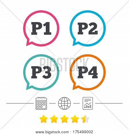Car parking icons. First, second, third and four floor signs. P1, P2, P3 and P4 symbols. Calendar, internet globe and report linear icons. Star vote ranking. Vector