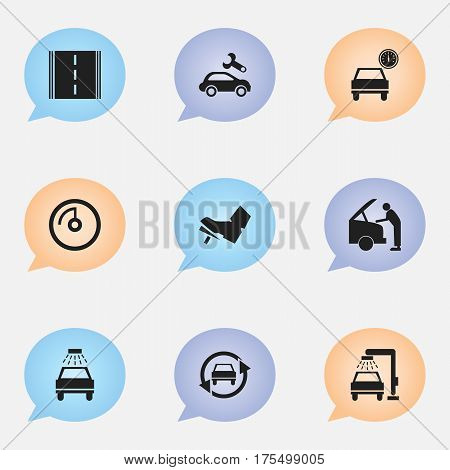 Set Of 9 Editable Vehicle Icons. Includes Symbols Such As Car Lave, Vehicle Wash, Speed Display And More. Can Be Used For Web, Mobile, UI And Infographic Design.
