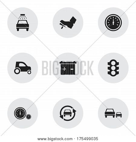 Set Of 9 Editable Transport Icons. Includes Symbols Such As Treadle, Tuning Auto, Speed Control And More. Can Be Used For Web, Mobile, UI And Infographic Design.