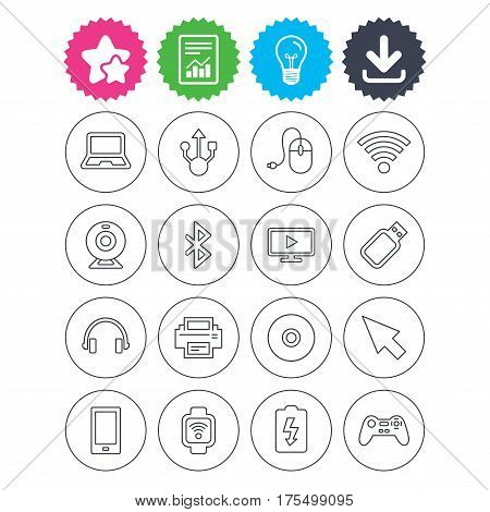 Download, light bulb and report signs. Computer elements icons. Notebook, usb port and smartphone. Printer, smart watch and game console joystick. Bluetooth, flash stick and cursor pointer. Vector
