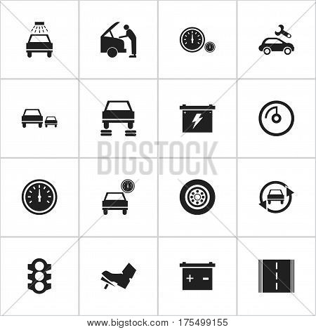 Set Of 16 Editable Traffic Icons. Includes Symbols Such As Speed Control, Car Lave, Tire And More. Can Be Used For Web, Mobile, UI And Infographic Design.