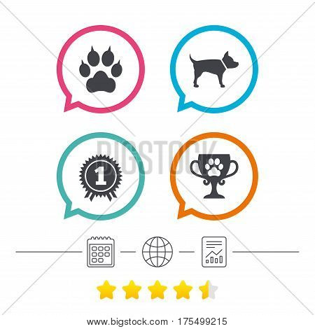 Pets icons. Cat paw with clutches sign. Winner cup and medal symbol. Dog silhouette. Calendar, internet globe and report linear icons. Star vote ranking. Vector