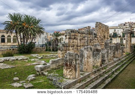 Ruins of Temple of Apollo on the Ortygia - old town of Syracuse on Sicily island Italy