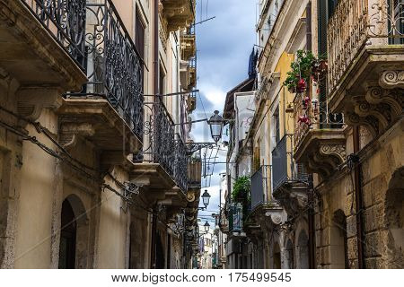 Houses on the Ortygia isle - old town of Syracuse on Sicily island Italy