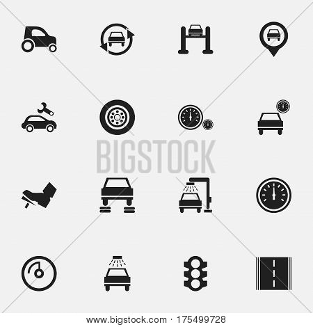 Set Of 16 Editable Vehicle Icons. Includes Symbols Such As Treadle, Stoplight, Automotive Fix And More. Can Be Used For Web, Mobile, UI And Infographic Design.