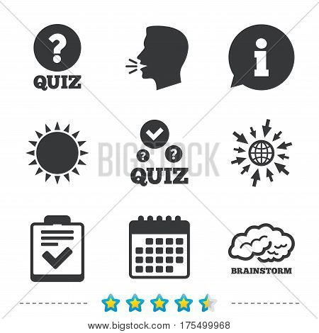 Quiz icons. Human brain think. Checklist with check mark symbol. Survey poll or questionnaire feedback form sign. Information, go to web and calendar icons. Sun and loud speak symbol. Vector