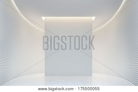 Empty white room modern space interior 3d rendering image.A blank wall with pure white. Decorate wall with horizon line pattern and hidden warm light