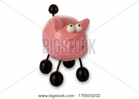 Funny Piggy bank isolated on white background