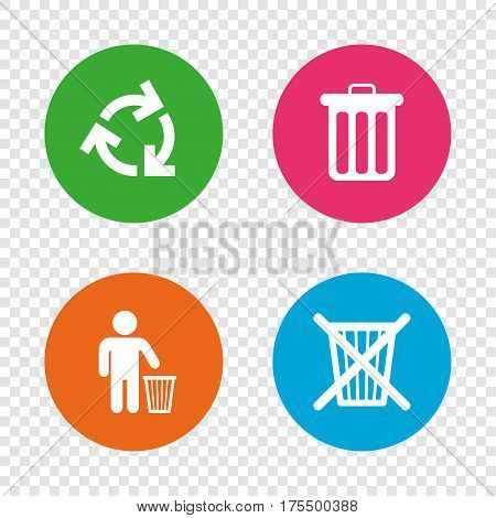 Recycle bin icons. Reuse or reduce symbols. Human throw in trash can. Recycling signs. Round buttons on transparent background. Vector