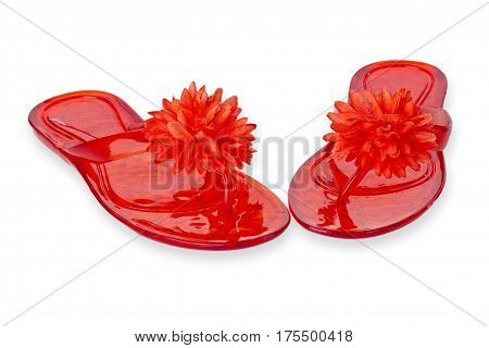 Red Flip Flops with Flower isolated on white background