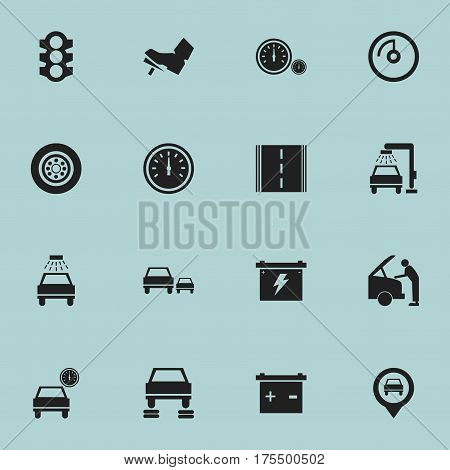 Set Of 16 Editable Car Icons. Includes Symbols Such As Stoplight, Speed Control, Auto Repair And More. Can Be Used For Web, Mobile, UI And Infographic Design.