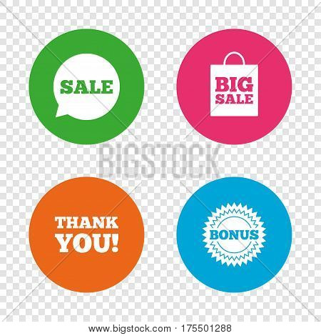 Sale speech bubble icon. Thank you symbol. Bonus star circle sign. Big sale shopping bag. Round buttons on transparent background. Vector
