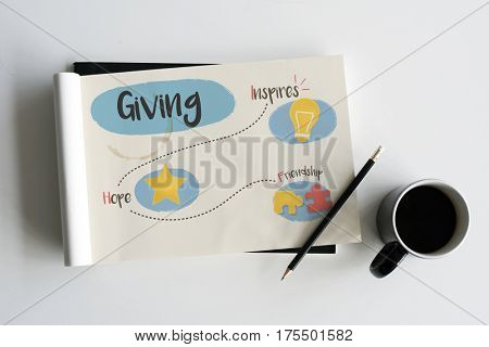 Illustration of generosity donate for charity
