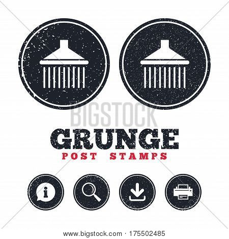 Grunge post stamps. Shower sign icon. Douche with water drops symbol. Information, download and printer signs. Aged texture web buttons. Vector