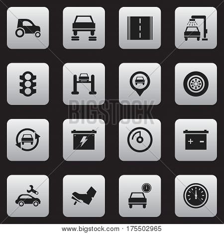 Set Of 16 Editable Traffic Icons. Includes Symbols Such As Accumulator, Tire, Speed Display And More. Can Be Used For Web, Mobile, UI And Infographic Design.