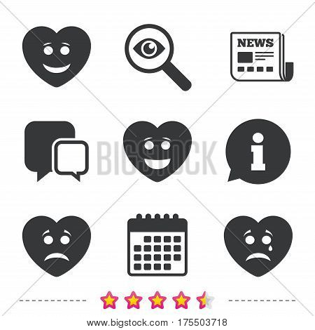 Heart smile face icons. Happy, sad, cry signs. Happy smiley chat symbol. Sadness depression and crying signs. Newspaper, information and calendar icons. Investigate magnifier, chat symbol. Vector
