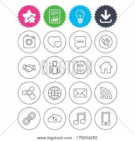 Download, light bulb and report signs. Social media icons. Speech bubble, lovers relationships and human person. Rss, share and mail envelope. Musical note, smartphone and smile. Vector