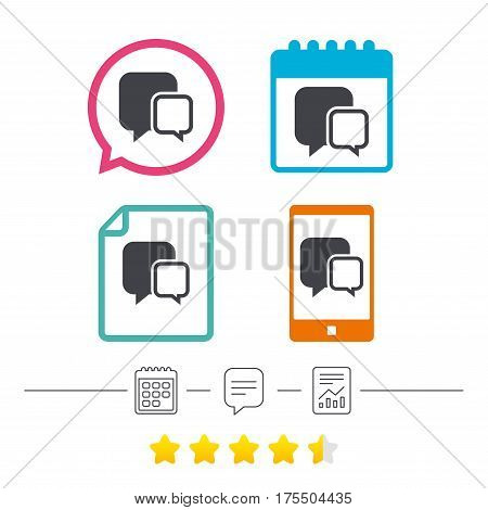 Chat sign icon. Speech bubbles symbol. Communication chat bubbles. Calendar, chat speech bubble and report linear icons. Star vote ranking. Vector
