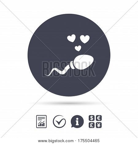 Sperm sign icon. Fertilization or insemination symbol. With heart. Report document, information and check tick icons. Currency exchange. Vector