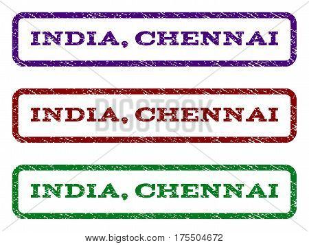 India, Chennai watermark stamp. Text tag inside rounded rectangle frame with grunge design style. Vector variants are indigo blue, red, green ink colors. Rubber seal stamp with dust texture.