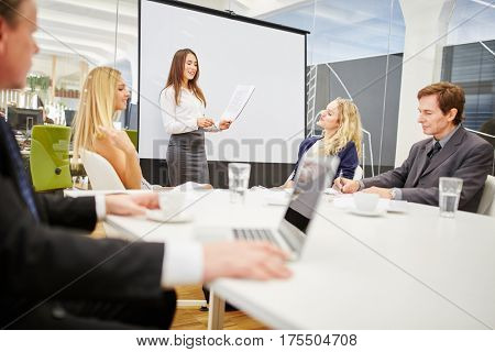 Woman in a presentation with a flipchart in a business seminar