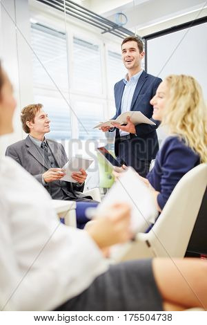 Lawyer giving advice in a business meeting