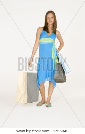 Model Release 314 Woman in early 20s with shopping bags poster