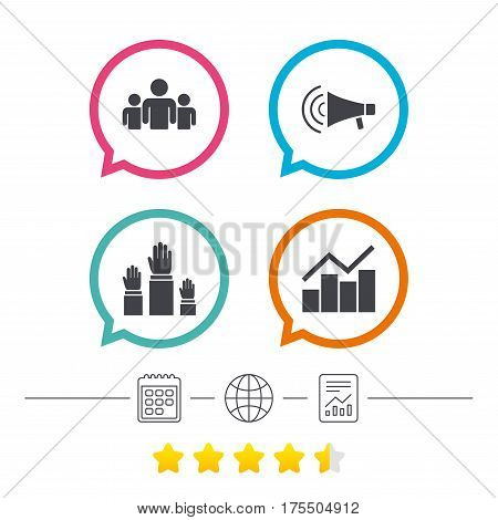 Strike group of people icon. Megaphone loudspeaker sign. Election or voting symbol. Hands raised up. Calendar, internet globe and report linear icons. Star vote ranking. Vector