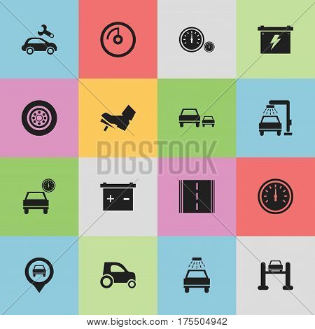 Set Of 16 Editable Vehicle Icons. Includes Symbols Such As Car Lave, Automotive Fix, Accumulator And More. Can Be Used For Web, Mobile, UI And Infographic Design.