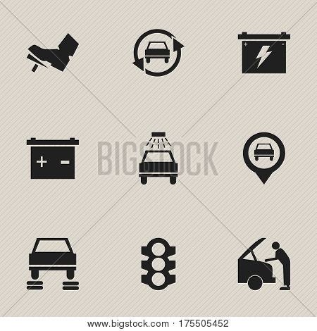 Set Of 9 Editable Car Icons. Includes Symbols Such As Auto Repair, Car Fixing, Stoplight And More. Can Be Used For Web, Mobile, UI And Infographic Design.