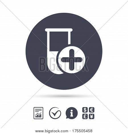 Medical test tube sign icon. Add new test with plus. Laboratory equipment symbol. Report document, information and check tick icons. Currency exchange. Vector