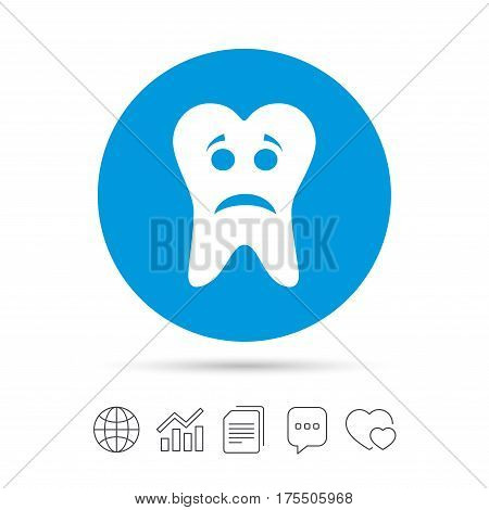 Tooth sad face sign icon. Aching tooth symbol. Unhealthy teeth. Copy files, chat speech bubble and chart web icons. Vector