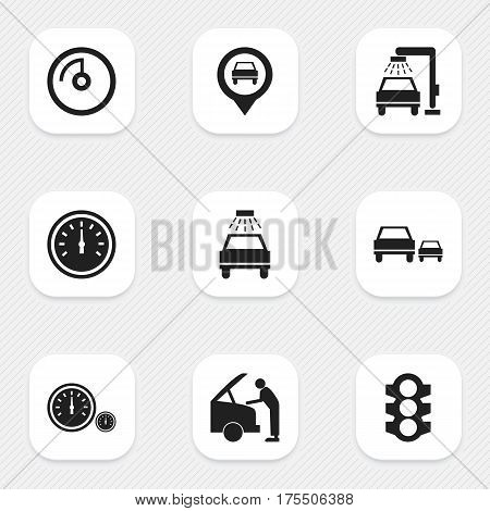Set Of 9 Editable Traffic Icons. Includes Symbols Such As Stoplight, Vehicle Wash, Speed Display And More. Can Be Used For Web, Mobile, UI And Infographic Design.