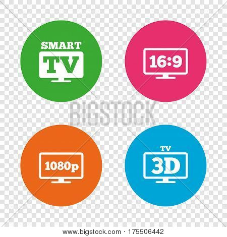 Smart TV mode icon. Aspect ratio 16:9 widescreen symbol. Full hd 1080p resolution. 3D Television sign. Round buttons on transparent background. Vector