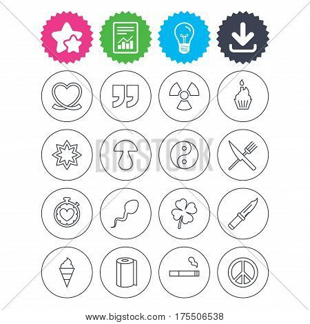 Download, light bulb and report signs. Universal icons. Quotes, ribbon heart and cake. Clover, mushroom and ice cream. Smoking, knife and fork. Best quality star symbol. Flat buttons. Vector