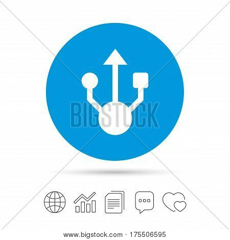 Usb sign icon. Usb flash drive symbol. Copy files, chat speech bubble and chart web icons. Vector
