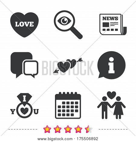 Valentine day love icons. I love you ring symbol. Couple lovers sign. Newspaper, information and calendar icons. Investigate magnifier, chat symbol. Vector