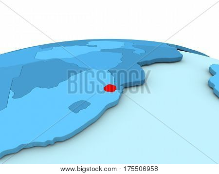 Swaziland On Blue Globe