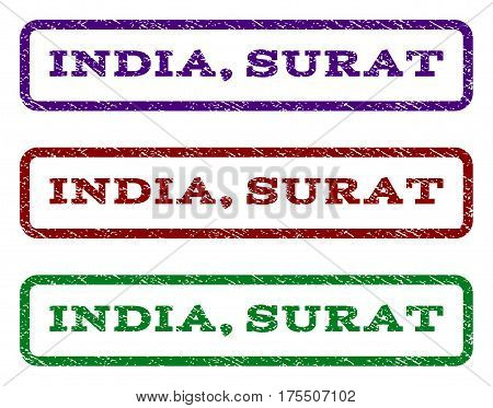 India, Surat watermark stamp. Text caption inside rounded rectangle frame with grunge design style. Vector variants are indigo blue, red, green ink colors. Rubber seal stamp with dust texture.