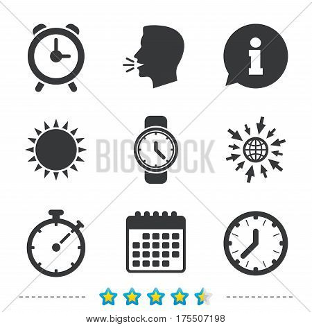 Mechanical clock time icons. Stopwatch timer symbol. Wake up alarm sign. Information, go to web and calendar icons. Sun and loud speak symbol. Vector