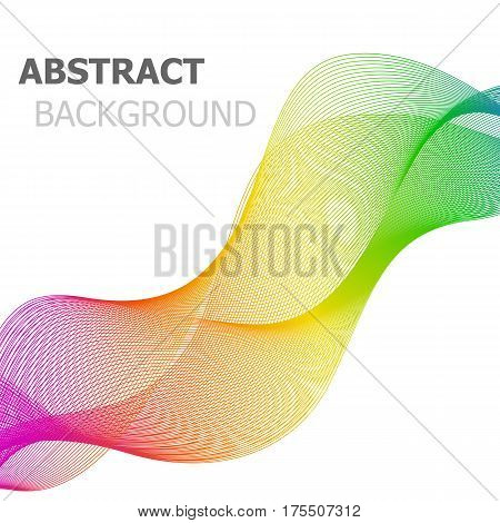 Colorful line wave abstract background, stock vector