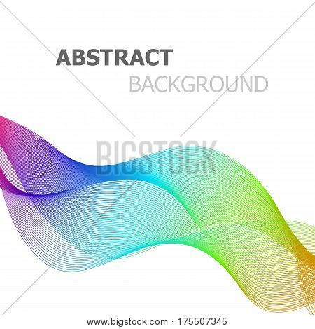 Abstract colorful line wave on white background, stock vector