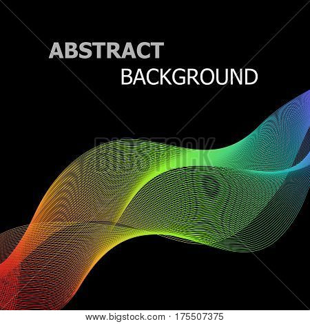 Abstract colorful lines wave on black background, stock vector