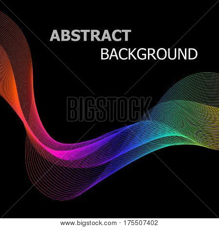 Abstract background with colorful line wave on black, stock vector