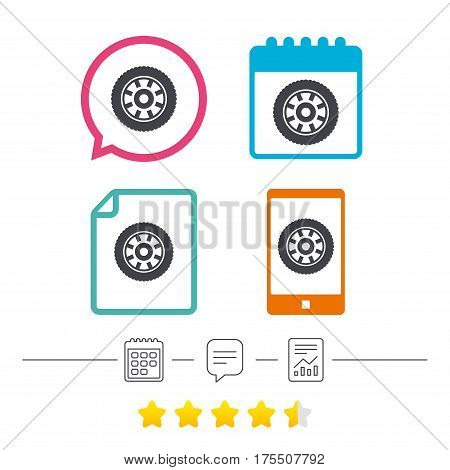 Car wheel sign icon. Circular transport component symbol. Calendar, chat speech bubble and report linear icons. Star vote ranking. Vector
