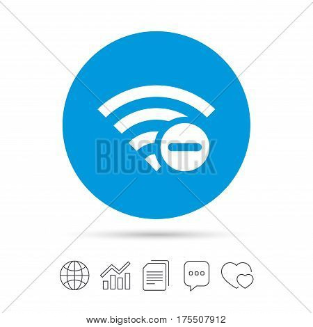 Wifi minus sign. Delete Wi-fi symbol. Wireless Network icon. Wifi zone. Copy files, chat speech bubble and chart web icons. Vector